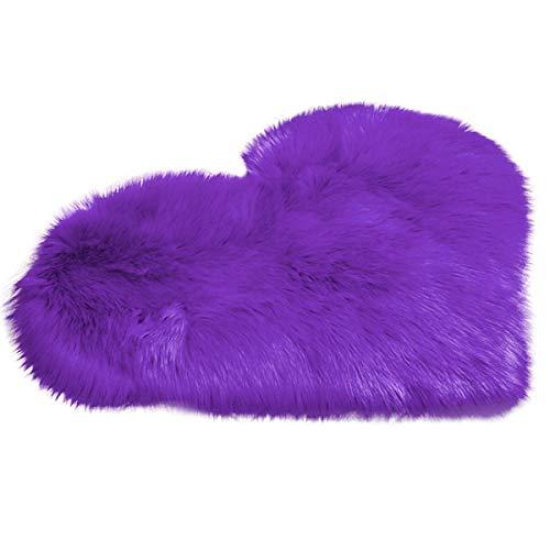 HelloCreate - Tappeto in pelliccia sintetica, a forma di cuore, per casa, camera da letto, ufficio, dormitorio, colore: bianco Viola