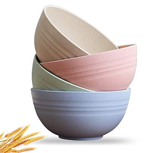 4 Packs Unbreakable Cereal Bowls, 24 OZ Lightweight Fiber Wheat Straw Bowls Dishwasher & Microwave...