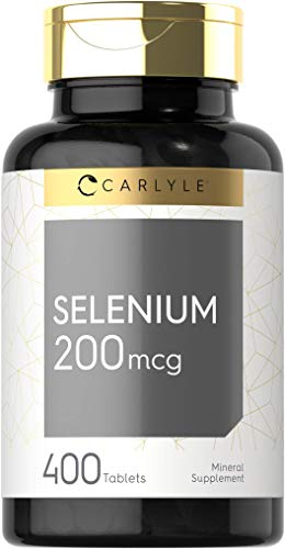 Selenium 200mcg | 400 Tablets | Vegetarian, Non-GMO & Gluten Free Supplement | by Carlyle