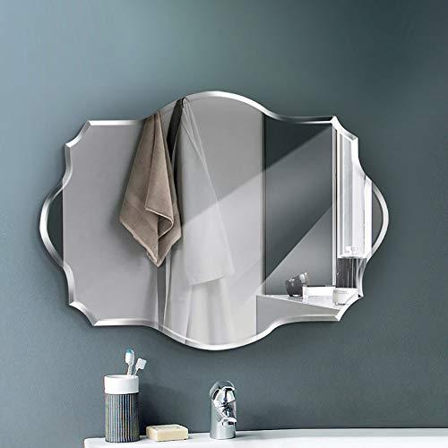 QJJML Specchio Pensile da Bagno,Specchio da Parete Grande,Specchio A Parete Frameless Lucido di Forma Irregolare per Bagno, Toletta, Camera da Letto,60×80CM