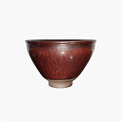 YuanBo Wu Handlampe Tuhao Brennholz gebaut Reifen Eisenerz Fortune-Lampe Tasse Tee-Tasse temmokus Zhancha (Color : Red)