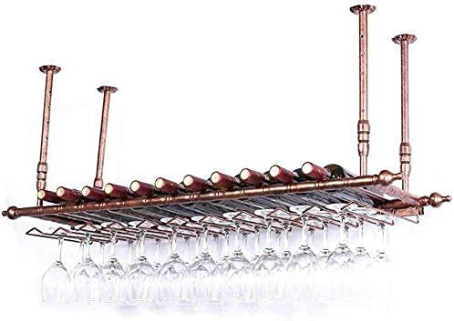 JYDQM Estante de Exhibición de Vino, Soporte para Vino Tipo de Techo Retro Estantes para Vino Porta Botellas de Vino Estantes para Copas de Vino Estante de Altura Ajustable Estante para Vasos de Copa