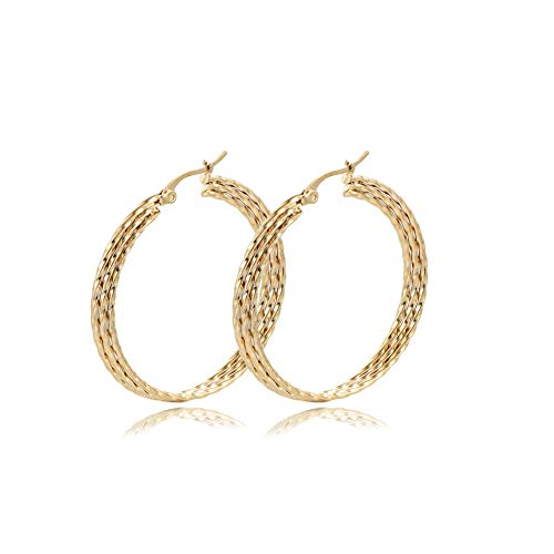 Yumay 9CT Yellow Gold Hoop Earrings for Women and Girls,3 Layer Hand-Tiwsted Ladies Earrings(40MM)