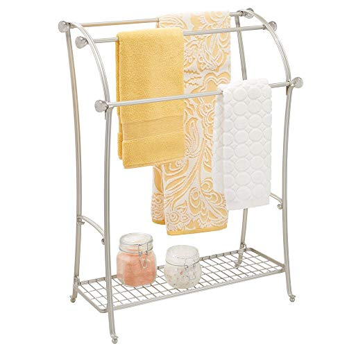mDesign Large Freestanding Towel Rack Holder with Storage Shelf - 3 Tier Metal Organizer for Bath & Hand Towels, Washcloths, Bathroom Accessories - Satin