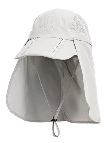Unisex Safari Cap mit extra langem Nackenschutz Anti UV Abklappbar Baseball Mütze für Camping Outdoor - Hellgrau