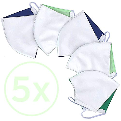 PandaBaw® NEU 5er Set waschbar bis 90°C | größenverstellbar, wiederverwendbar, atmungsaktiv & staubdicht | 2-lagig aus Bio-Baumwolle | Stoff Farbe: weiß Made in Germany