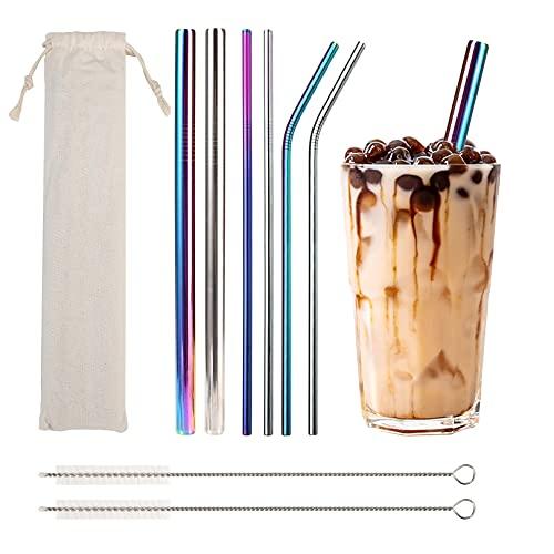6 pezzi Cannucce metallo colorate riutilizzabili (12mm/6mm), cannucce per cocktail bubble tea, cannucce sottili e larghe, lavabili in lavastoviglie
