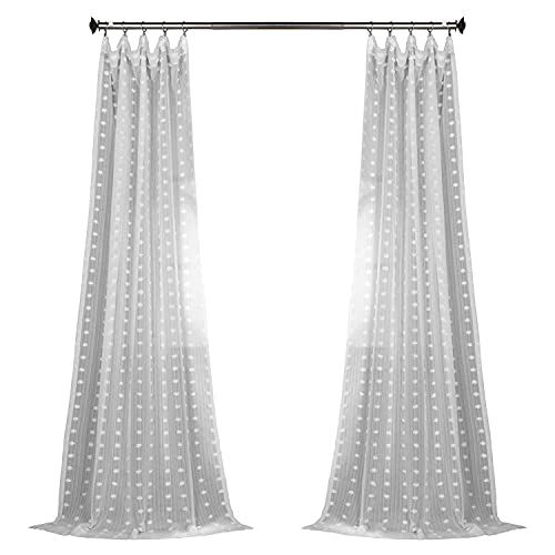 HPD Half Price Drapes SHCH-119-84 Patterned Faux Linen Sheer Curtain (1 Panel), 50 X 84, Strasbourg Dot