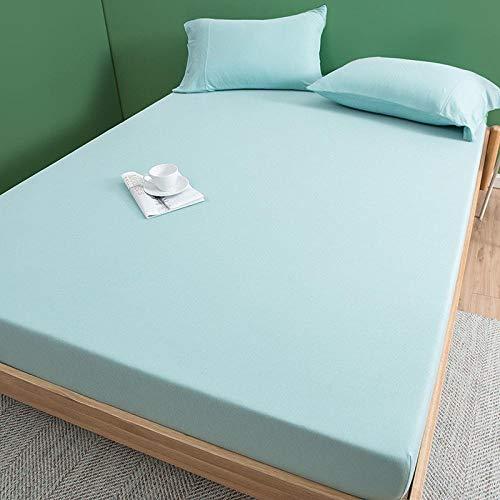 LCFCYY Sábanaencimera,Sábanas de algodón de Color sólido Suave,Antideslizantes para dormitorios de Adultos Protector de colchón Desnudo para Dormir Blue 180 * 200cm
