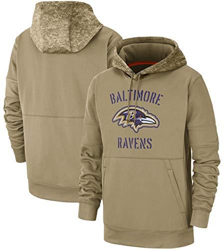 XYEQX Herren Hoodies-Ravens Rugby Hoodie, Kapuzenpullover Pullover Sportswear Langarm Sweatshirt American Football Jacken Fan Jumper-Lightkhaki-M(175-180)