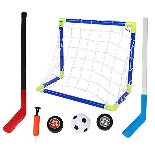 Alomejor Kinderfußballtor 2 in 1 Eishockeytore Fußballtorset mit Bällen und Pumpfußballtor Eishockeyschläger Ice Hockey Head Zielübungsspiel Spielzeug für Kinder Indoor Outdoor Fun