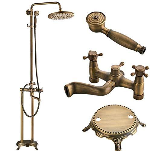 RWJFH Sistema de Ducha Grifo para bañera montado en el Suelo Grifo Mezclador para Ducha de baño con Patas de Garra y Ducha de Mano 8 Sistema de Ducha Tipo Lluvia, latón Antiguo