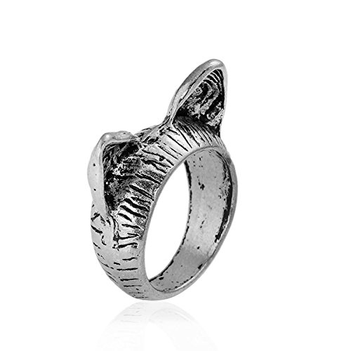 SiAura Material ® - 1x Ring Katzenohren, Innendurchmesser 16,9 mm, Antiksilber