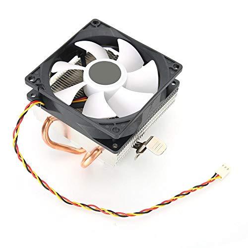 Ventilador de CPU, Ventiladores de refrigeración de CPU de computadora, Accesorio de computadora de Escritorio Down Blow, 2 Tubos de latón, disipador de Calor, para AMD 775/1155/1366(Blanco)