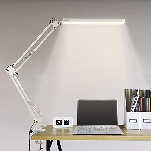 BIENSER Schreibtischlampe LED, 14W Schwenkarm Architektenlampe, Büro Tischlampe mit 3 Farb und 10 Helligkeitsstufen, Augenschutz, Flexibles Klemmlicht, Memory-Funktion, Inklusive 5V/2A Adapter