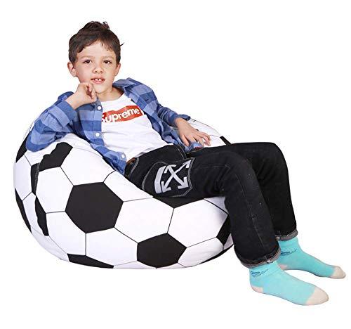ZXYSHOP Sitzsack/Sitzsack in Kugelform, aus Segeltuch, gefüllt, für Kinder, Plüschtiere/Kleidung, Quilts/Organizer, weiche Tasche, Canvas, Fußball 38inch