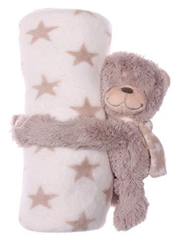 Manta para bebé con animales de tela en diferentes variantes, manta para niños, manta de lana beige Oso Beige