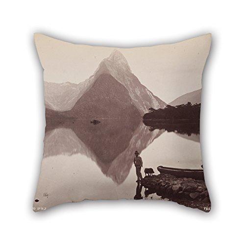 HQSL funda de almohada Pillow Case Cushion Cover Decorative Cotton Blend Linen Pillowcase for Sofa Rectangle 18X18 Oil Frank Coxhead Mitre Peak Mil d Sound NZ. from The Album- 'Australasian Scenery' S