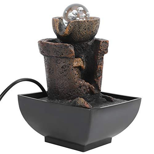 FOLOSAFENAR Adorno de Fuente Fuente de Agua LED de bajo Ruido 5.1X5.1In Resina Liviana, para decoración del hogar, para decoración de Escritorio, para decoración(European Standard 220V)