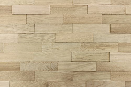 wodewa Paneles de Madera Para Pared Roble Natural I 1m² Revestimiento de Paredes 3D Panel Decorativo Madera Interior Sala de Estar Cocina Dormitorio Mural I Natural