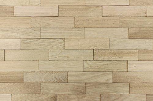 wodewa Wandverkleidung Holz 3D Optik Eiche Natur 1m² Wandpaneele Moderne Wanddekoration Holzverkleidung Holzwand Wohnzimmer Küche Schlafzimmer I Natur