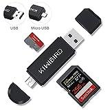 KiWiBiRD SD Micro SD Kartenleser, USB 2.0 Kartenlesegerät, Micro USB OTG Speicherkarten Adapter für SDXC SDHC Micro SDXC Micro SDHC Karten, UHS-I Karte für MACs, Notebooks, Tablets, Android Handy