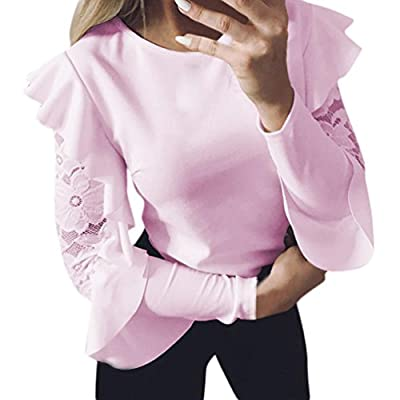 2018 Ruffle Long Sleeve T Shirt for Women Lace Crewneck Top Loose Blouse Evening Pink