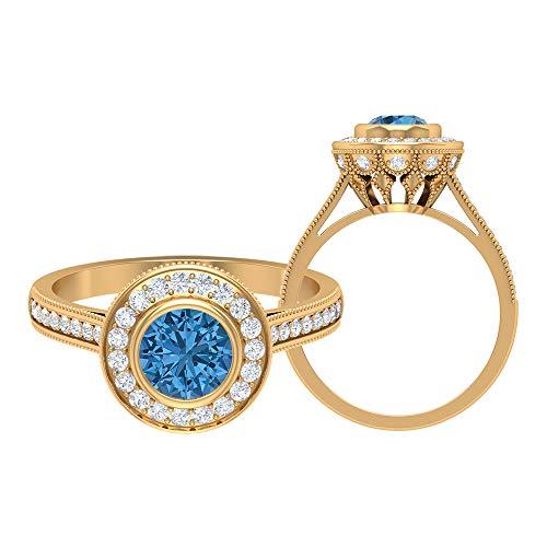 Anillo de zafiro azul ártico de 6 mm creado en laboratorio, anillo de halo de diamante HI-SI, anillo grabado en oro, anillo solitario con piedras laterales (calidad AAAA), 14K Oro amarillo, Size:EU 49