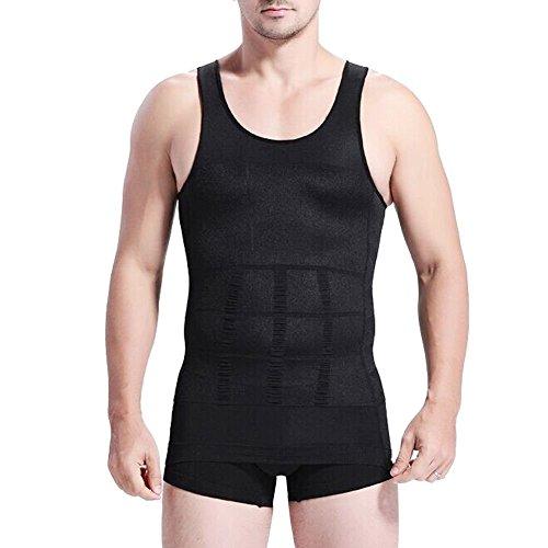 Camiseta para moldear la figura de hombre, para parecer más delgado, elástica, color negro