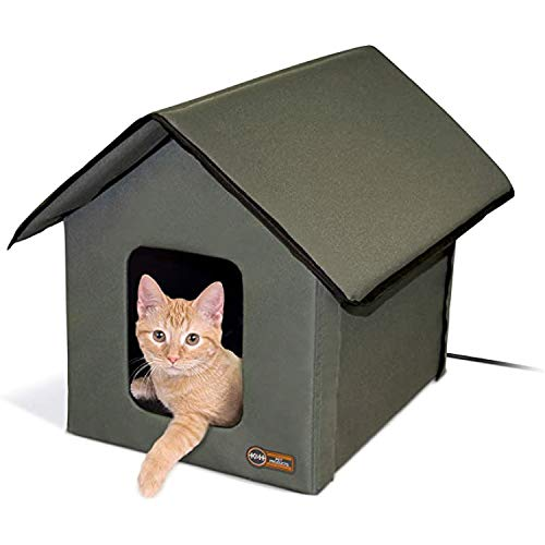K&H Pet Products Outdoor Heated Kitty House Cat Shelter Olive Green 18 X 22 X 17 Inches