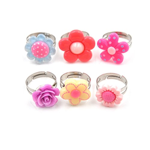 5Pcs Kids Adjustable Flower Ring Multi Color Polymer Cute Finger Rings For Girls Handmade Jewelry,Girl Pretend Play and Dress Up Rings,Birthday Gift Party Favors by Jiabetterniu