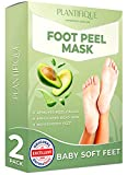 Foot Peel Mask - Avocado Feet Peeling Mask 2 Pack - Dermatologically Tested, Cracked Heel Repair, Dead Skin Remover for Baby Soft Feet - Exfoliating Peel Natural Treatment by Plantifique