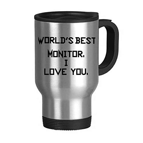 World best Monitor I Love You Travel Mug Flip Lid Stainless Steel Cup Car Tumbler Thermos