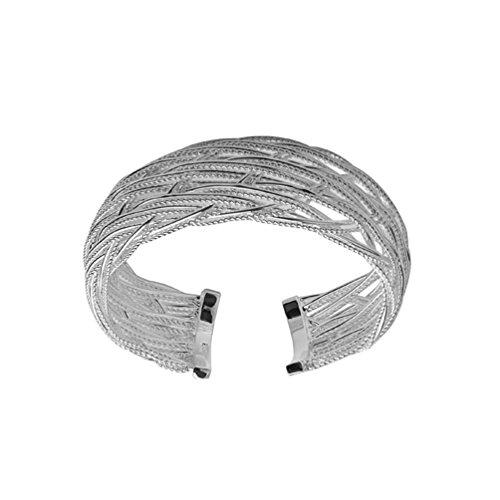 HMILYDYK Impresionante pulsera chapada en plata de ley 925 con bonito diseño torcido.