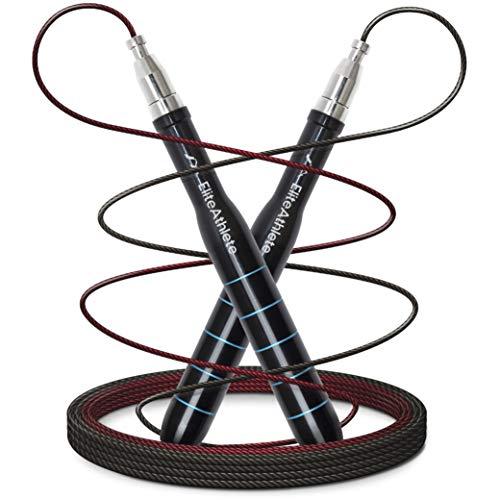 EliteAthlete Springseil - Speed Rope mit Ersatzkabel - 2 verstellbare Seile - Profi Kugellager - Anti-Rutsch Griffe - Fitness Crossfit Profi Sport Boxen - Jump Rope Erwachsene inkl. Tasche