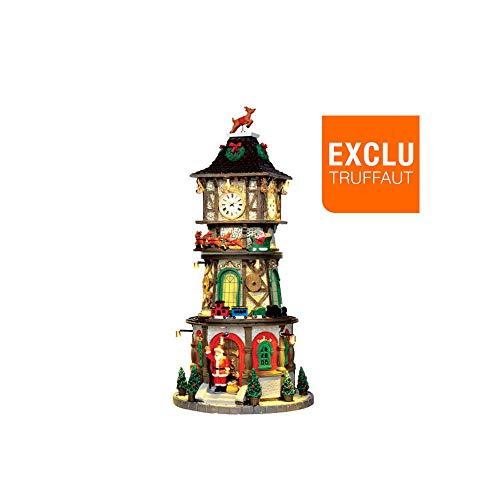 Accesorio de decoración navideño en forma de torre con reloj