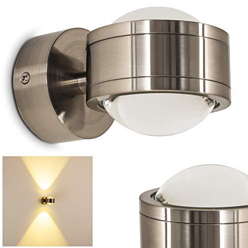 LED Wandlampe Indore, Wandleuchte aus Metall/Glas in Nickel-matt, Wandstrahler 2-flammig mit Lichtkegel, 6 Watt, 600 Lumen, 3000 Kelvin, Innenwandleuchte m. Up&Down-Effekt, für das Badezimmer geeignet