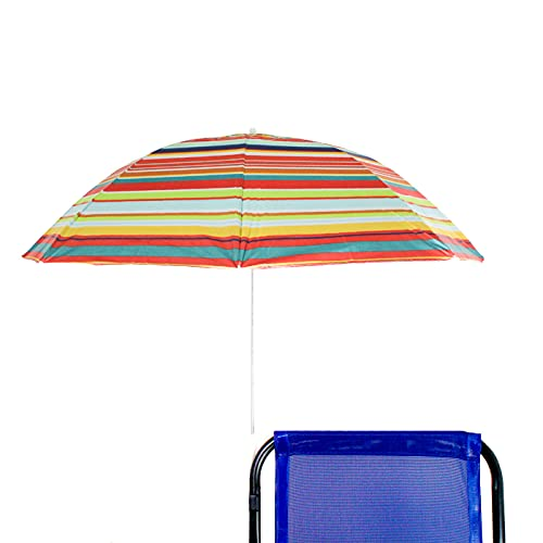 BESCH Sombrilla para Silla Playa, Jardín, Piscina,Terraza o Patio, Protección solar UPF50+, Ø100cm (RAYAS DE COLOR 2)