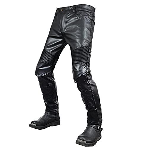 THJ Pantalones De Cuero De Motocicleta para Hombres, Pantalones De Cuero para Hombres, Motociclistas De Moda Suaves, Pantalones De Moto Sexy, A Prueba De Viento E Impermeables (XS=26,Negro)