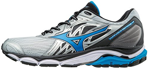 Mizuno Men's Wave Inspire 14 Running Shoe, Silver/Directoire Blue, 7 2E