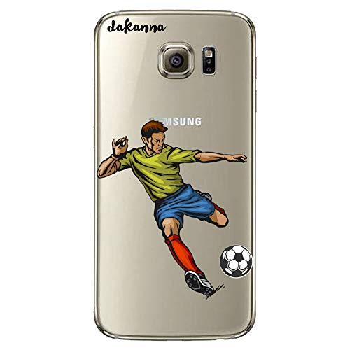 dakanna Funda para Samsung Galaxy S6 | Jugador de Fútbol | Carcasa de Gel Silicona Flexible | Fondo Transparente