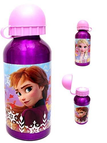Dedimi Borraccia per bambini Frozen 2 in alluminio a tenuta stagna con beccuccio di sicurezza e tappo - Viola con tappo rosa - 400 ml
