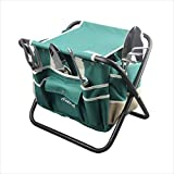 Garden Tools Sets- Heavy Duty Gardening Gift Tool Kit Including Folding Stool
