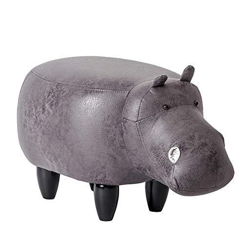 FSYGZJ Pouf Animal en Forme d'hippopotame, Repose-Pieds rembourré, Plateau, Repose-Pieds de Rangement, siège rembourré, Noir 65x35x37cm (26x14x15inch)