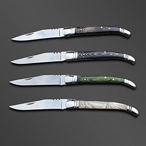 1 unids 7.6'Cuchillo plegable de Camping Camping Camping Portátil Cuchillo de bolsillo Mini Hunting Knifes BBQ Picnic EDC Herramienta (Color : Green wood)
