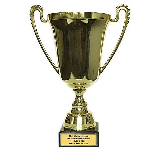 Pokal mit Wunschtext Extra Groß, Pokal auf Marmorsockel (270mm, 590gr.) mit Text, Trophäe, 1,2,3 Platz Inkl. Wunschgravur (mit Wunschtext)