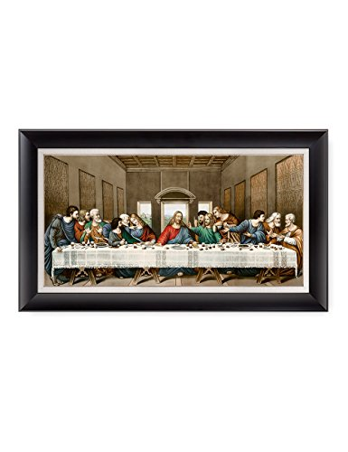 DECORARTS -The Last Supper, Leonardo da Vinci Classic Art Reproductions. Giclee Print& Black Framed Art for Wall Decor. Total with Framed Size: 34x20