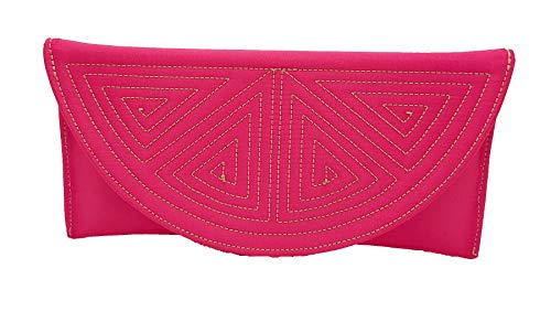 Cartera de Mano Capote en Tela de razo con diseño esclavina en Color Rosa Fuxia.1MD.1011