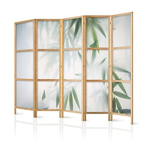 murando - Biombo XXL XXL Green Bambu Naturaleza Zen SPA 225x171 cm 5 Paneles Lienzo de Tejido no Tejido Tela sintética Separador Design de Moda Home Office Japón b-B-0591-z-c