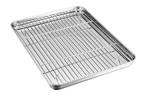 TEAMFAR Backblech mit Auskühlgitter, Edelstahl Backform Kuchenblech und Abkühlgitter zum Backen Kühlung Servieren, gesund & ungiftig, leicht zu reinigen und spülmaschinenfest (1 Tablett + 1 Grillrost)